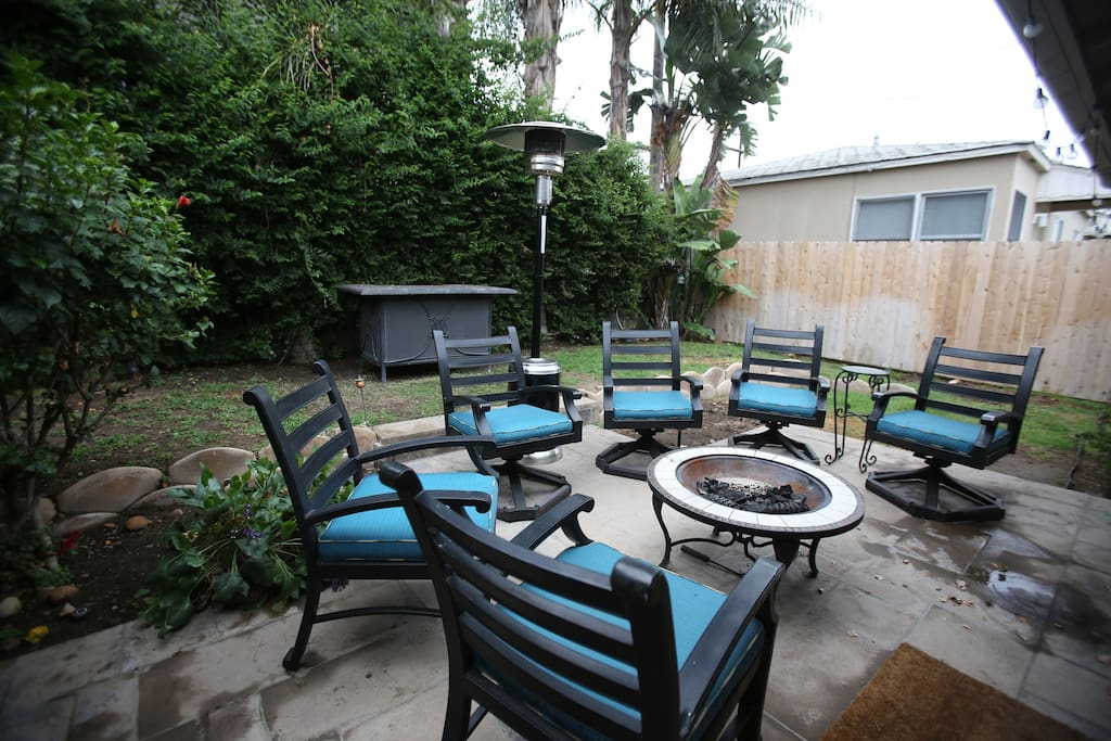 Outdoor area off the Master Bedroom.  Great for entertaining a few guests or just enjoying an evening by the fire. We recently replaced the fire pit with a gas fire and heater to make it even easier to enjoy the outdoor space.