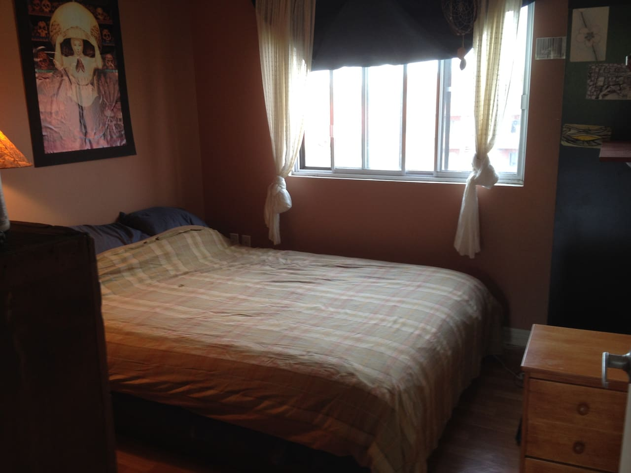 Nice bedroom with brand new duvet cover and a really comfortable mattress!