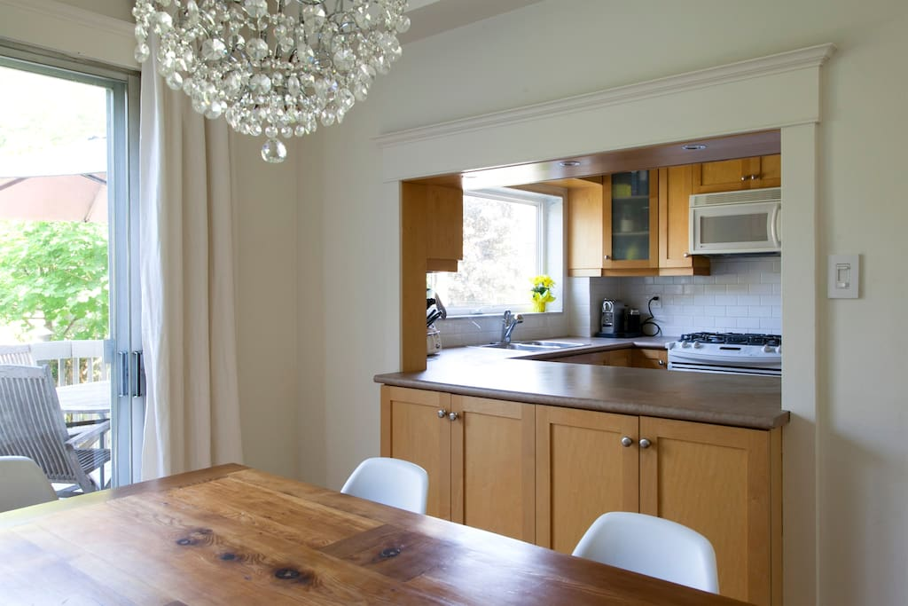 The kitchen & dining room have been recently updated and make sharing meals enjoyable.