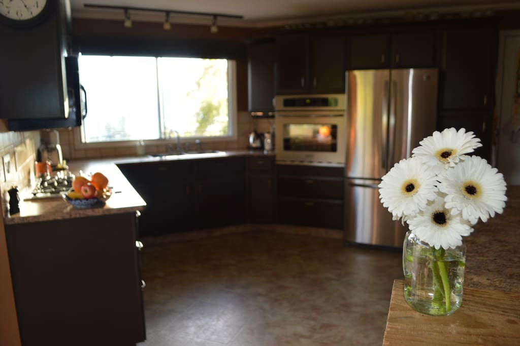 Bright, spacious kitchen with stainless steel appliances.