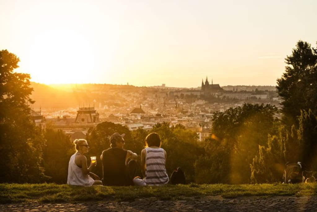 This amazing view is just 3 minutes walk away in the popular Riegrovy Sady park.