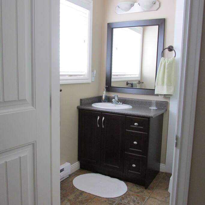 Private in-room bathroom with corner shower.
