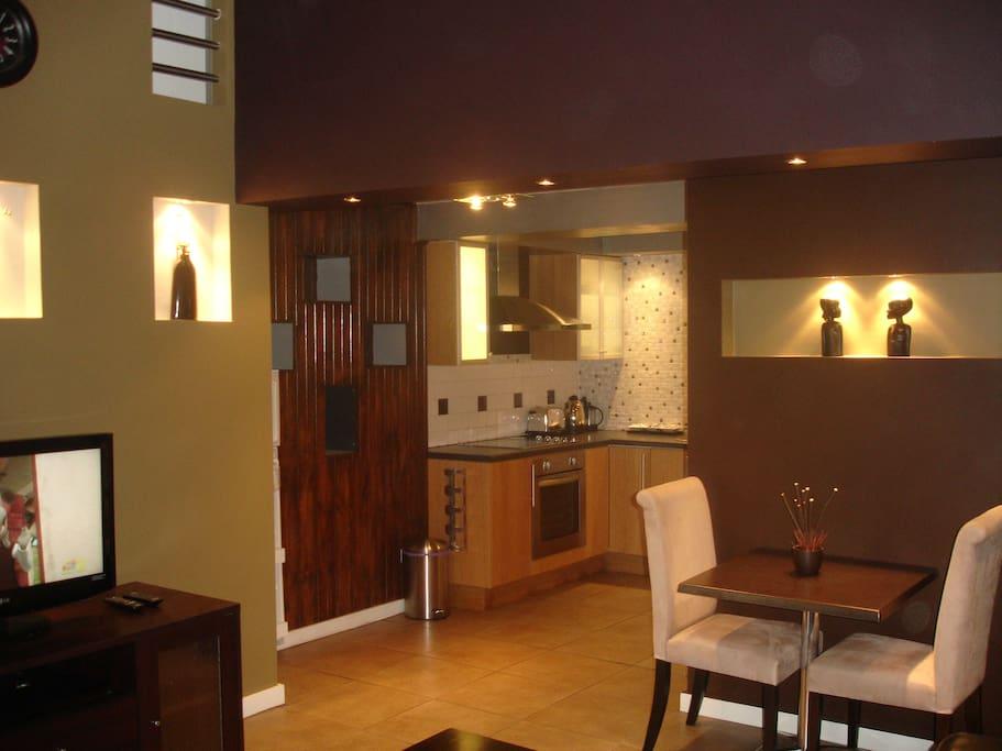 Modern, stylish kitchen & living areas