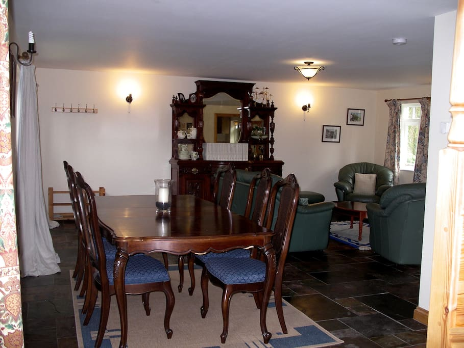 Spacious lounge / dining room with wood burner for comfort