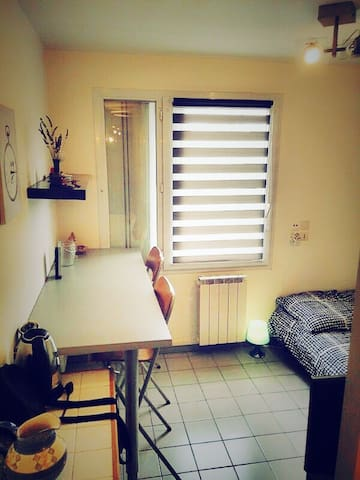 big bed studio in city center flats for rent in grenoble ra france. Black Bedroom Furniture Sets. Home Design Ideas