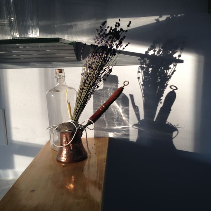 Pretty arty, if we say so ourselves...  The gin bottle is from about 1910...