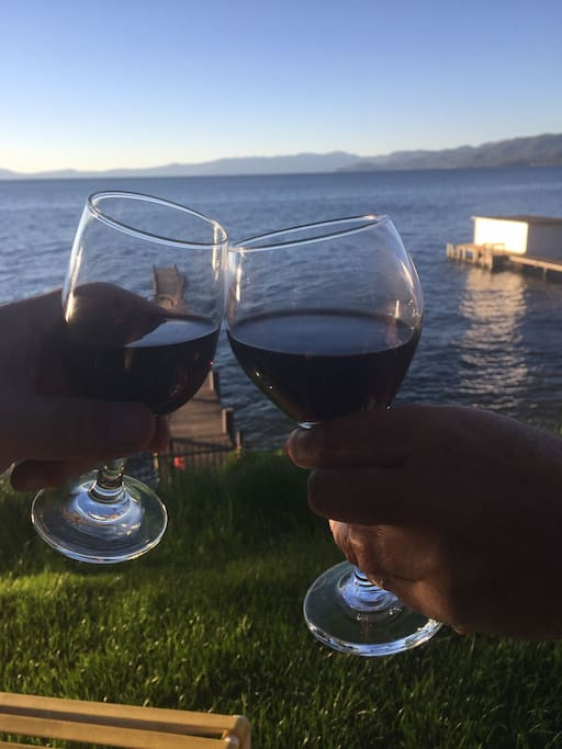 Enjoy a glass of wine right in front of Lake Tahoe!