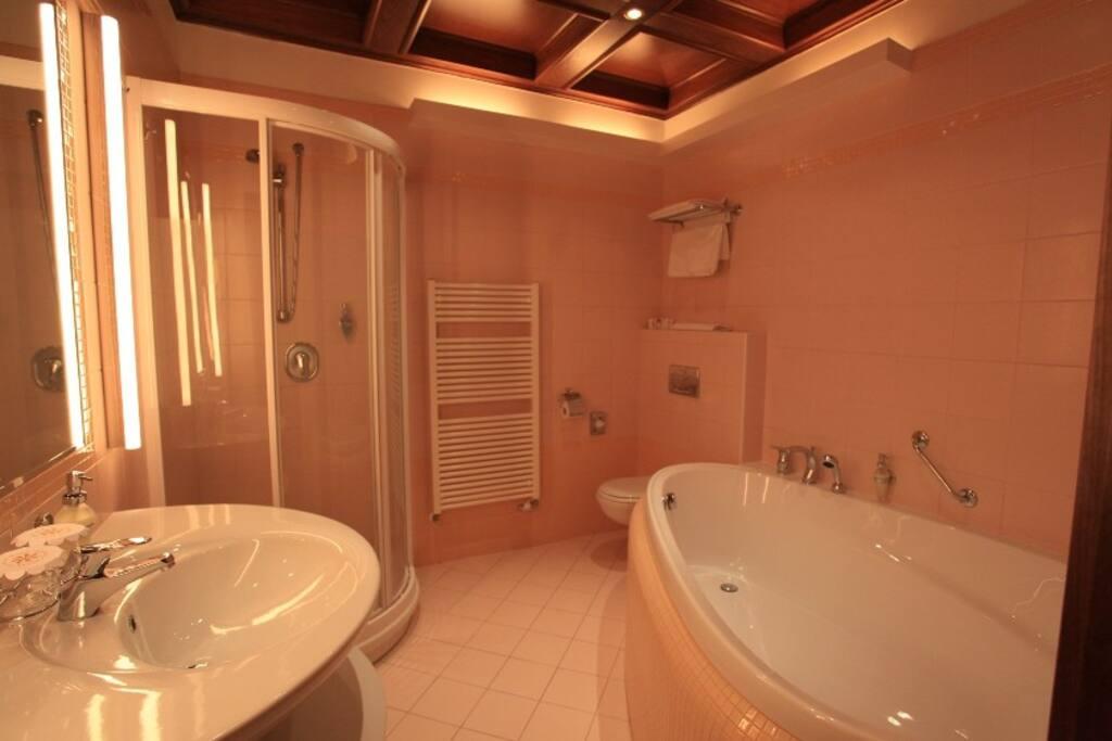 Koupelna se srdcovou vanou i sprchovým koutem