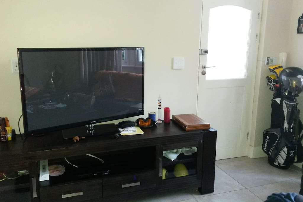 Large flat screen with satellite tv