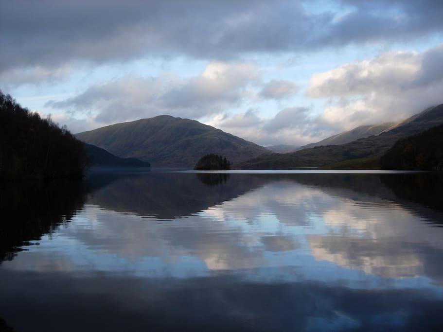 Glen Finglas reservoir, 15 minutes walk from chalet