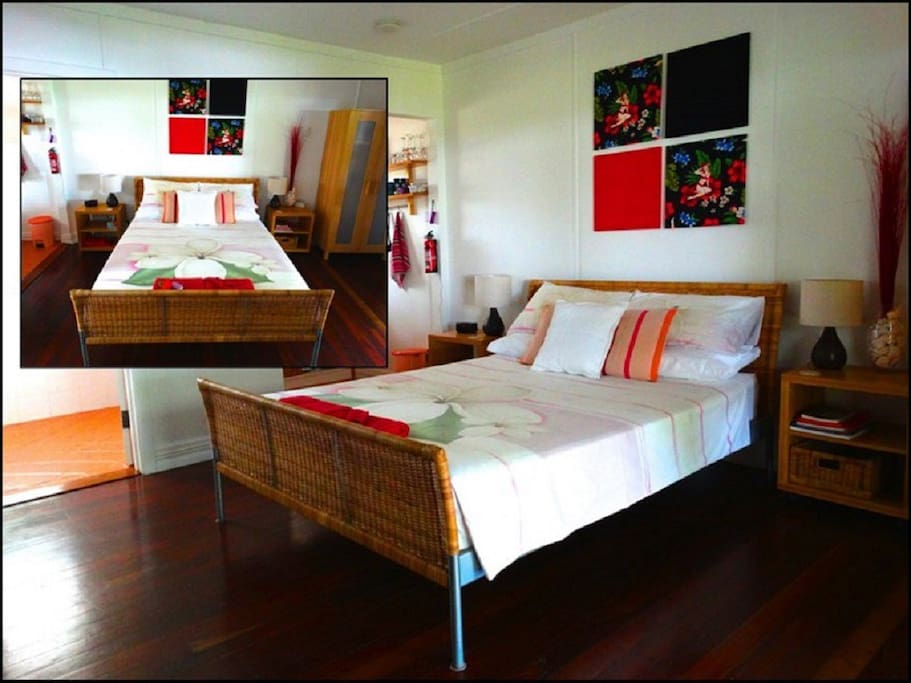 Guestroom. Room 2 - the red room. Clean and comfortable.