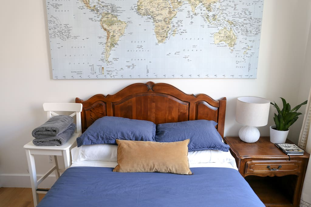 Our full sized  bed has a brand new mattress with comfy sheets and comforter. Extra blankets and pillows in closet, plus towels for your stay.