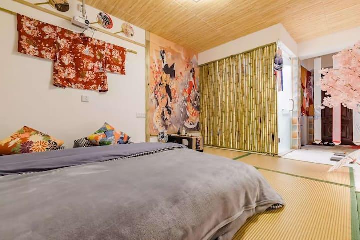 暖系日式风民宿,独立卫浴,有厨房,空调,无线网络wifi,设施齐全,提供和服供拍照