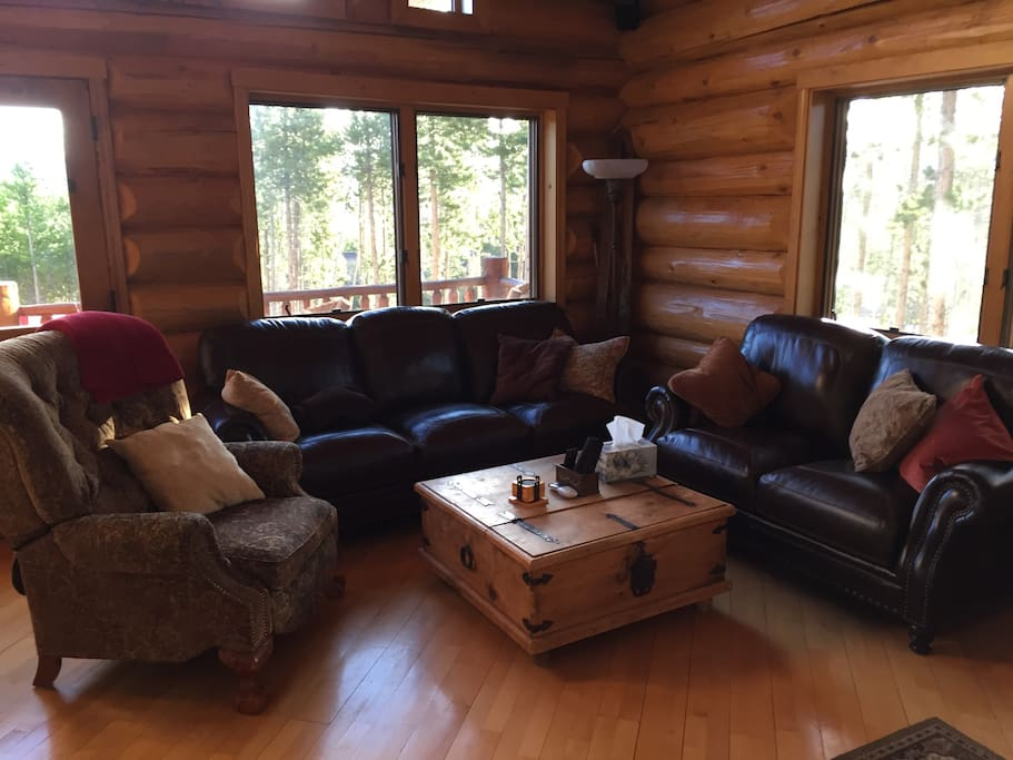 LIving Room with Comfy Leather Sofas and Recliner