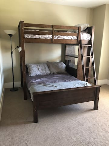 Second floor bedroom features a twin over full bunk - perfect for the kids room or a friends getaway!