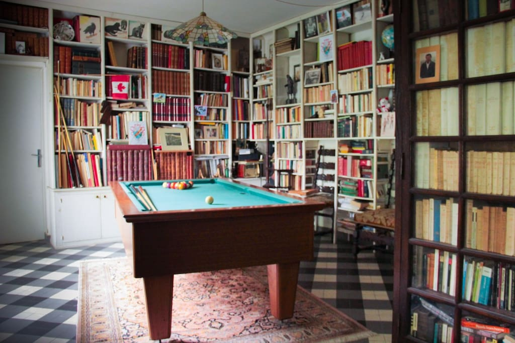 Billard, grande bibliothèque et salon TV