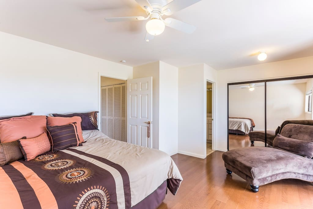 The private entrance master bedroom suit has a large closet and a private full bathroom.
