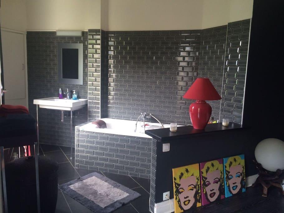 Salle de bain ouverte sur la chambre avec jaccuzzi , tv, rangements