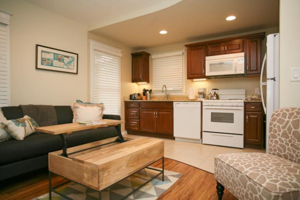 Kitchen/Living Room with convertible couch.