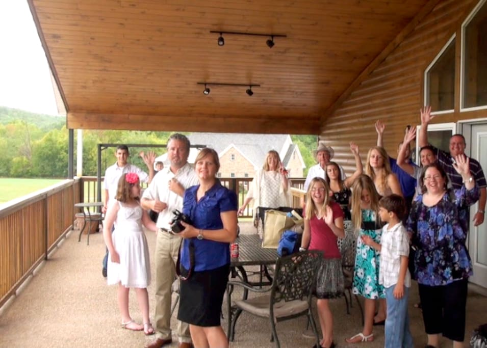 Family Reunion at the Lodge. Covered front deck