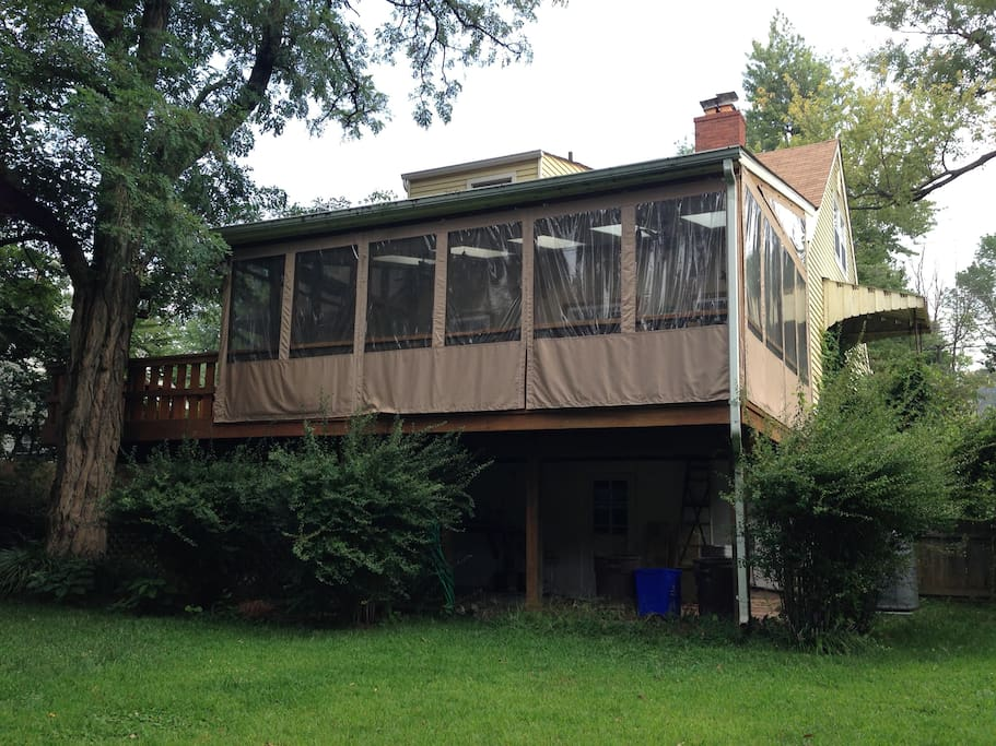 Our screened in porch, the back side of the house