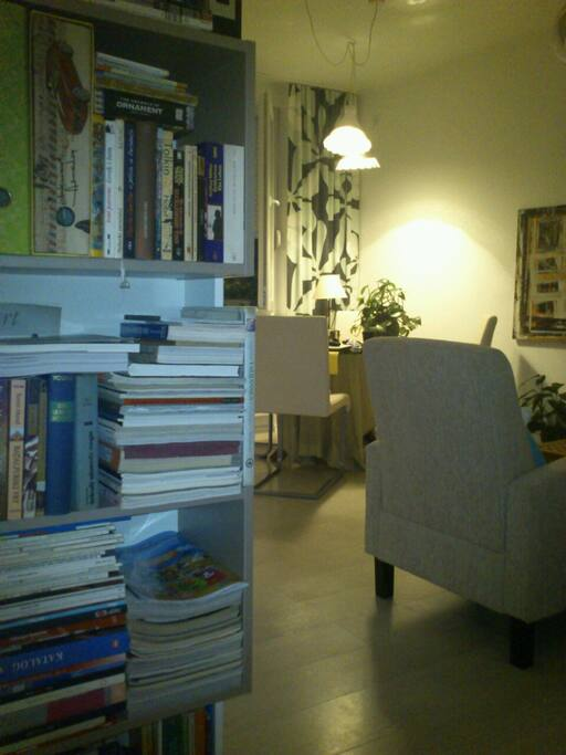 Living room, and a plenty of good books