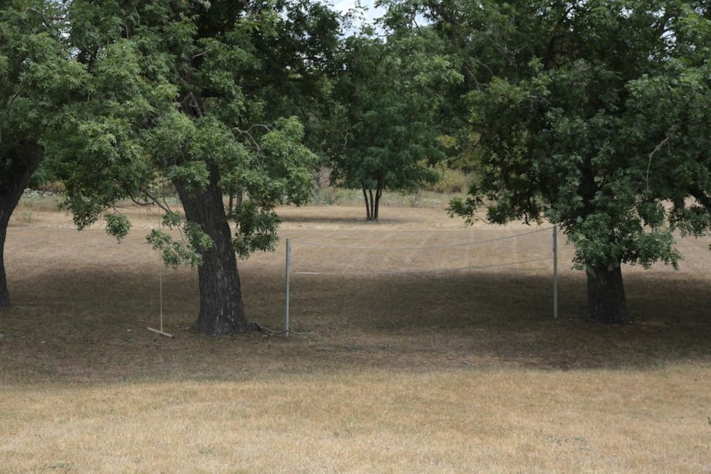 Wide lawn for volleyball, badminton, horse shoes, crochet, or deer watching