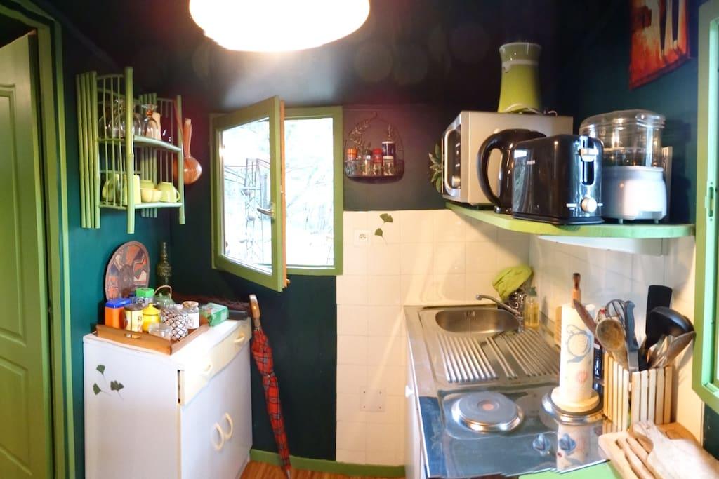 Kitchenette avec évier, frigo, micro-onde, plancha et barbecue électrique, desserte
