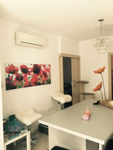 Private room & bathroom in a spacious house - Mesa Geitonia - Rumah