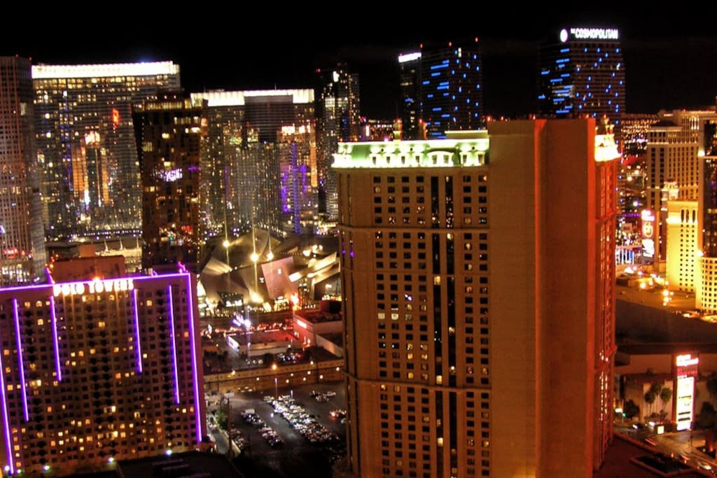 Strip facing views from the balcony of the Penthouse Suite