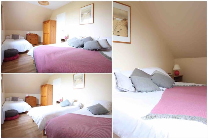 Bedroom 3 - sleeps 3 persons. Single and double configuration available. This bedroom is on the first floor.
