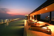 Night View of the Rooftop Swimming Pool
