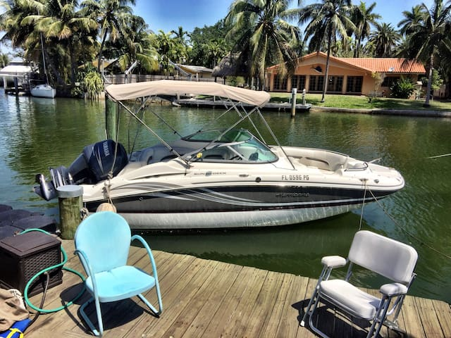 Dock area. Boat available for rides to beach & Biscayne Bay