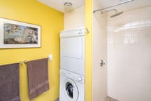 Bathroom is equipped with a washer and dryer
