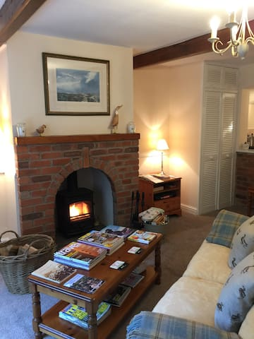 Cosy sitting room with log burning stove