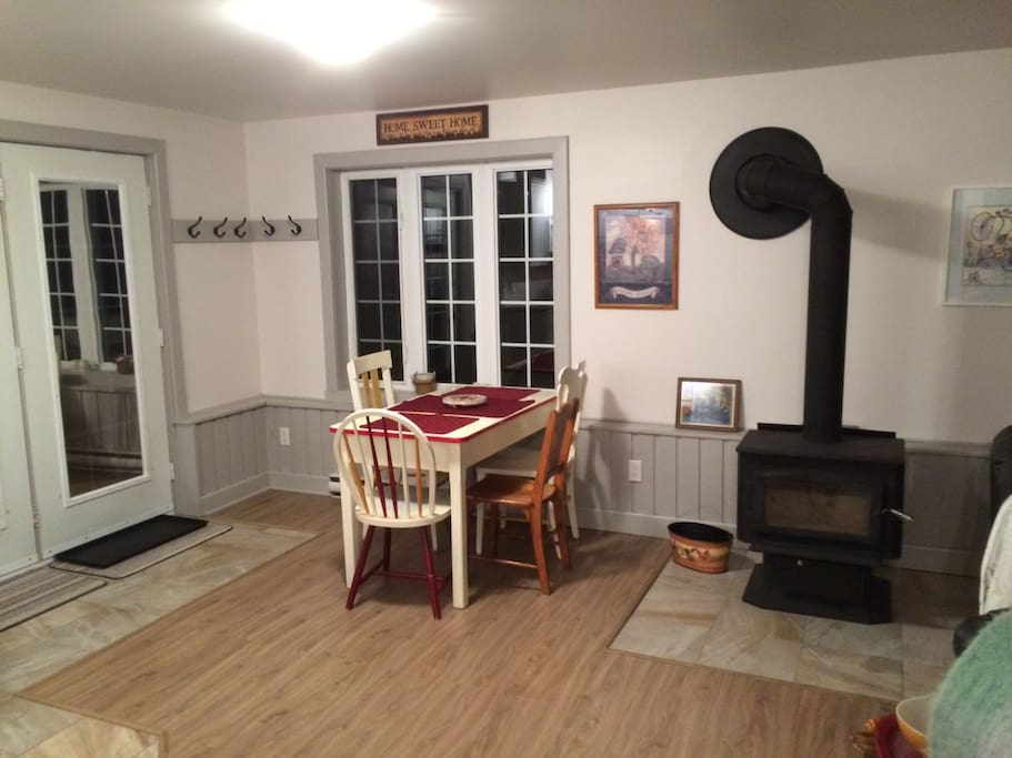Dining area and wood stove.