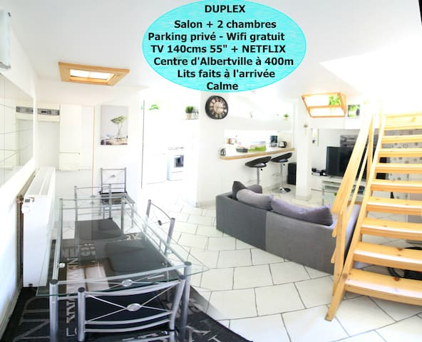 Duplex 3*** 54m2, 2ch, NETFLIX+TV 140,WIFI+Parking