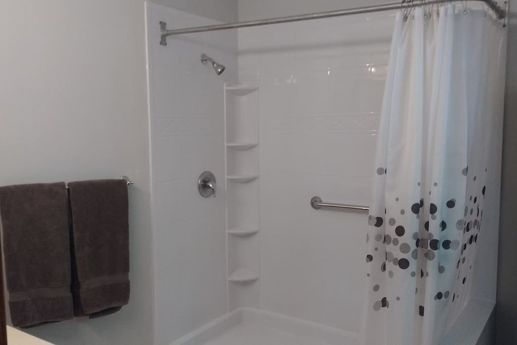 Plenty of room in the spacious walk-in shower with large, extra fluffy towels at hand.