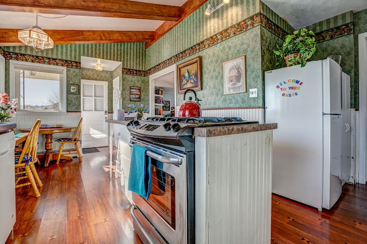 The Nostalgia Suite features a full, private kitchen with gas range & stove top.  Includes seating for six.