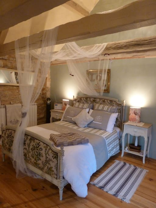 3rd Floor Superior room - L'Aveyron, Photo shows sleeping area. Room sleeps 3 (1 on sofa bed on mezzanine). Ideal romantic hideaway. Whirlpool bath, WC, shower and handbasin in room. Views over medieval roof tops. Quiet position on pedestrian road. Direct