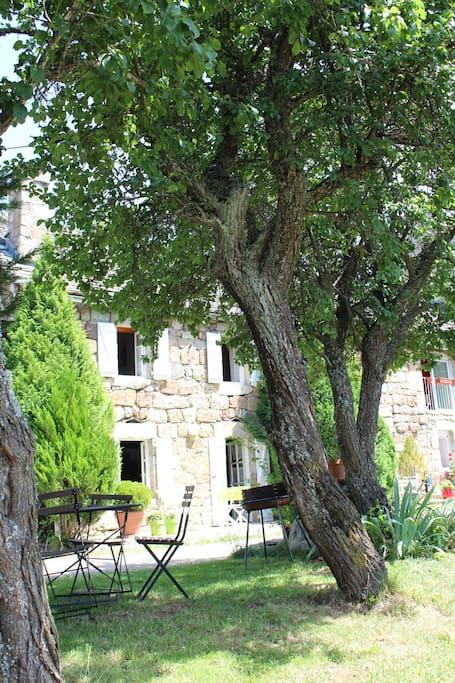 Vue de la maison du terrain ombragé situé en face de la maison