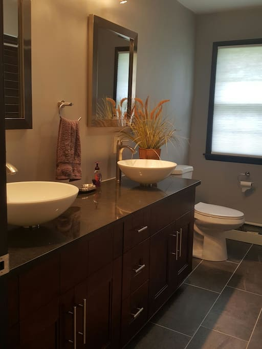 Brand new Bathroom with Granite counters and porcelain vessels Kohler Porcelain Full size tub.