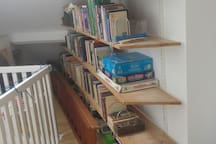 Hall of appartment with bookcase