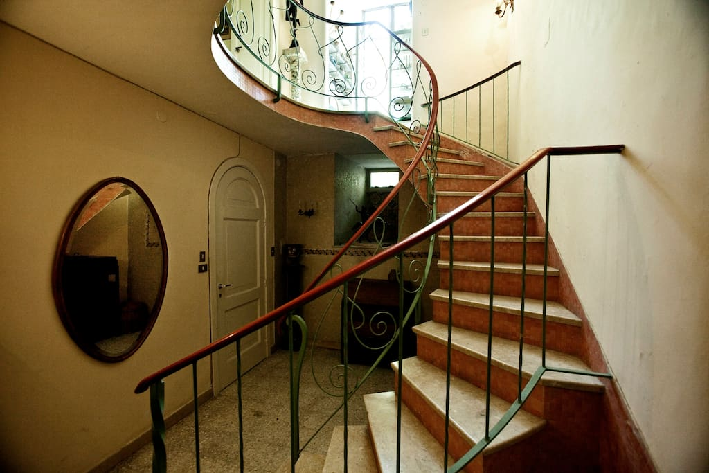 The stairs to the upper floor apartment