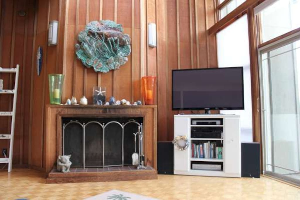 wood fireplace flat screen TV