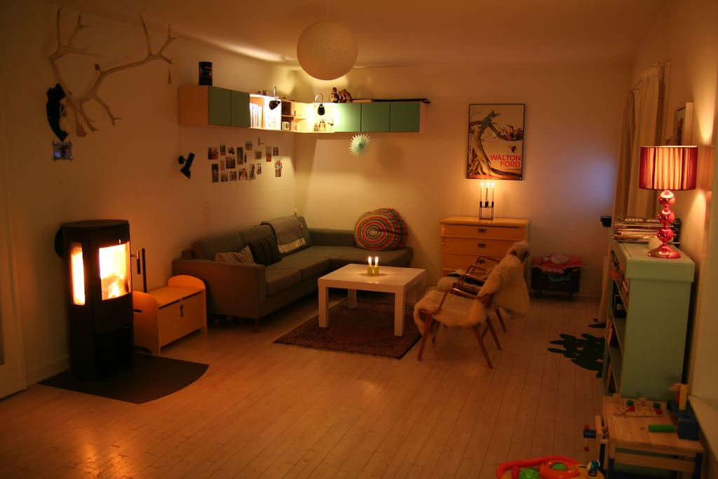 Living room at night - you can light up the woodburning stove if you want to. Wood is for free.
