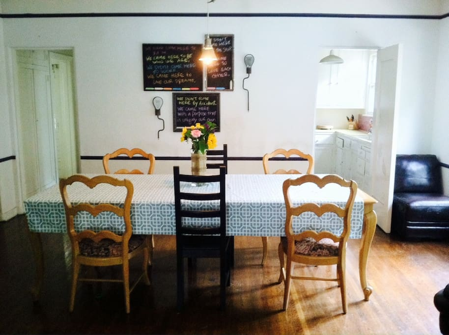 Dining Room with extra seats for new friends.