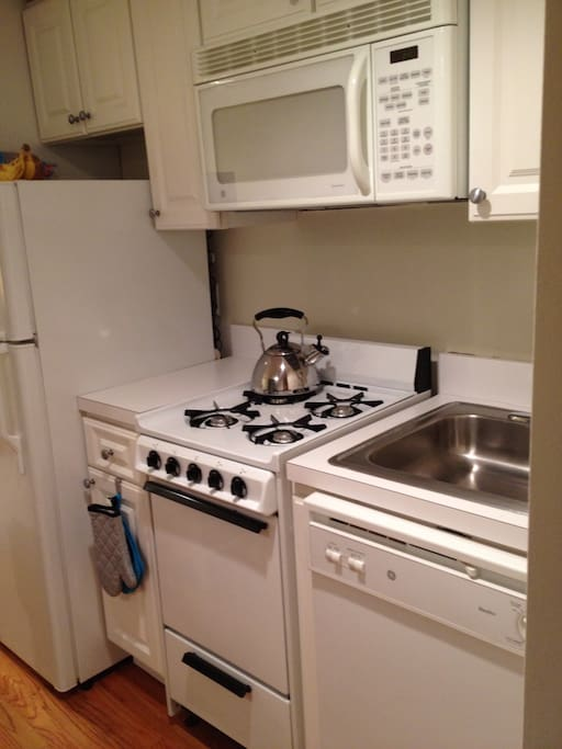 Updated kitchen with gas stove, oven and dishwasher!