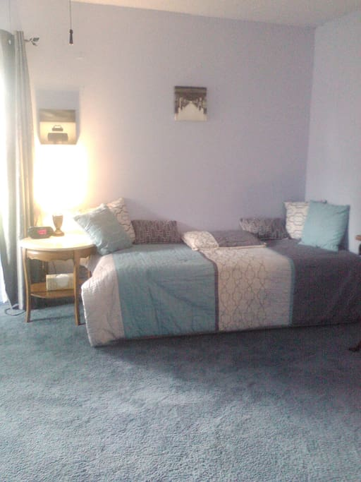 This is the single bed in the Blue Room, this is your room.