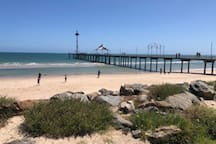Brighton Beach and Jetty - Popular for swimmers, SUP's, canoes, boating, fishing and of course relaxing - with Bakery, Bars and Coffee Shops along Jetty Road